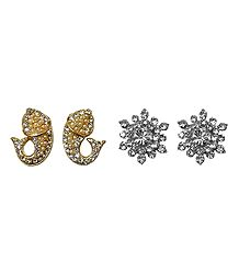 Set of 2 Pairs White Stone Studded Flower and Fish Stud Earrings
