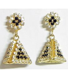 Gold Plated and Stone Studded Dangle Earrings
