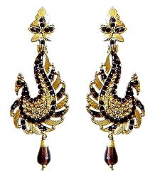 Maroon and Yellow Stone Studded Peacock Post Earrings
