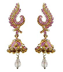Pink and Yellow Stone Studded Metal Jhumka Earrings