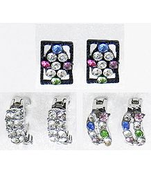 Three Pairs of Multicolor Small Stone Setting Ring Earrings