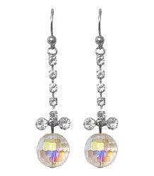 White Stone Studded Metal Earrings
