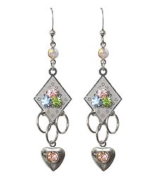 Multicolor Stone Studded Dangle Earrings