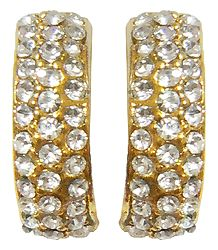Pair of Stone Studded and Gold Plated Metal Push Earrings