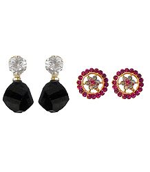 Set of 3 Pairs Stone Studded Earrings