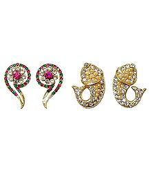 Set of 2 Pairs Faux Zirconia and Ruby Studded Question Mark and Fish Stud Earrings