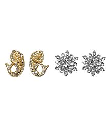 Faux Zirconia Studded Metal Earrings