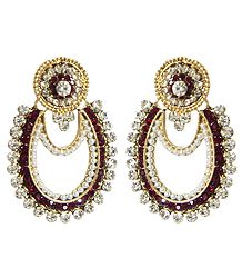 Buy Stone Studded Earrings with White Beads