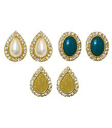 Set of 3 Pairs Stone Studded Stud Earrings