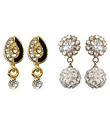 Set of 2 Pairs White Stone Studded Earrings