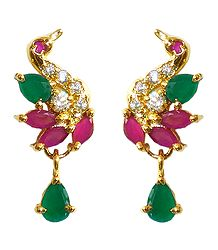 Faux Ruby and Emarald Earrings