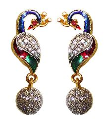 White Stone Studded Lacquered Metal Peacock Earrings