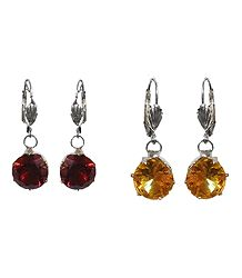 Set of 2 Yellow and Maroon Stone Studded Dangle Earrings