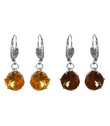 Set of 2 Yellow and Brown Stone Studded Dangle Earrings