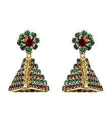 Green and Maroon Stone Studded Designer Earring