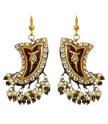 Buy Meenakari Dark Brown Dangle Lac Earrings