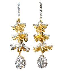 Stone Studded and Gold Plated Dangle Earrings