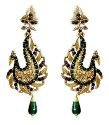 Faux Emerald, Citrine and Garnet Peacock Earrings