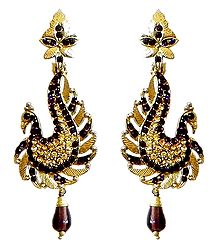 Faux Citrine and Garnet Peacock Post Earrings