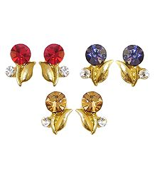 Set of 3 Pairs Stud Earrings