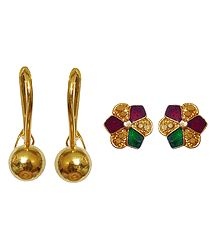 2 Pairs ofGold Plated Hook Earrings and Lacquered Stud Earrings