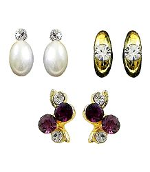 White, Purple Stone Studded Earrings - Set of 3 Pairs
