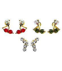 Set of 3 Pairs Red,Green and White Stone Studed Earrings