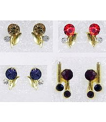 Four Pairs of Multicolor Small Stone Setting Stud Earrings