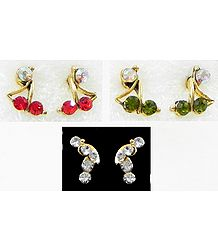 Three Pairs of Multicolor Small Stone Setting Stud Earrings