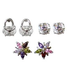 Set of 3 Pairs of Stone Studded Stud Earrings