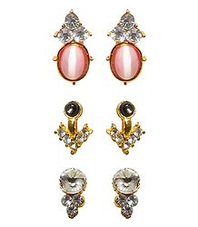 3 Pairs of Stone Studded Stud Earrings