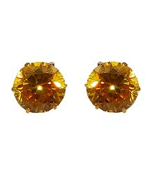 Yellow Stone Studded Metal Stud Earrings