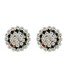 White, Green, Red Stone Studded Metal Stud Earrings
