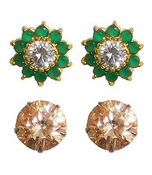 2 Pairs of Green and Peach Stud Earrings