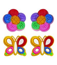 2 Pairs of Rubber Flower and Butterfly Stud Earrings