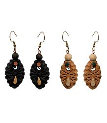 2 Pairs Hand Painted Terracotta Dangle Earrings