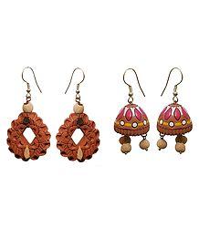 Shop Online Terracotta Dangle and Jhumka Earrings