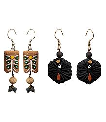 2 Pairs of Hand Painted Terracotta Dangle Earrings