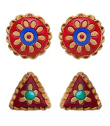 2 Pairs of Hand Painted Terracotta Push Back Earrings