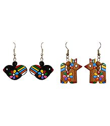 2 Pairs of Hand Painted Brown and Black Terracotta Earrings