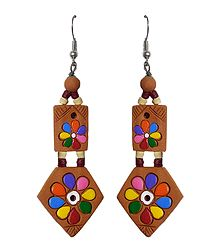 Hand Painted Brown Terracotta Earrings