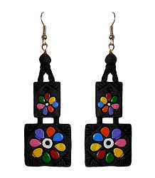 Hand Painted Black Terracotta Earrings