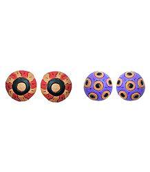 Buy Terracotta Colorful Stud Earrings