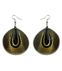 Golden with Black Thread Earrings