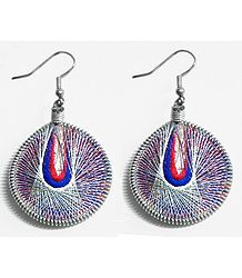 White, Red with Blue Thread Earrings