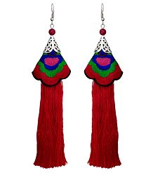 Embroidered Red Silk Thread Earrings