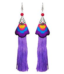 Embroidered Mauve Silk Thread Earrings