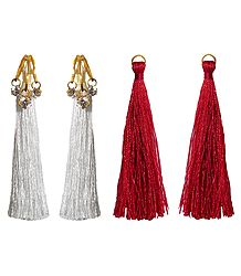 Detachable Red and White Silk Thread Earrings