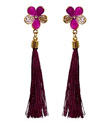 Maroon Silk Thread Earrings