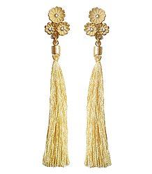Beige Silk Thread Earrings